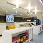 In a building designed to minimise impact on interior design, office, gray