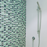 The Edra shower follows clean,minimalist lines. - The bathroom, floor, glass, plumbing fixture, product design, shower, tile, gray