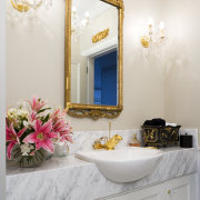 In this formal powder room, the floral theme bathroom, home, interior design, room, sink, wall, white, gray