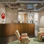 A view of the Marcs office reception area ceiling, furniture, interior design, table, brown