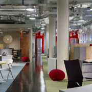 A view of the office works stations and ceiling, furniture, interior design, loft, office, table, gray