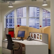 A view of the office works stations and ceiling, furniture, interior design, office, shelving, window, gray