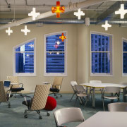 A view of the office works stations and ceiling, classroom, furniture, interior design, table, gray