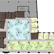 A view of the layout plan for the architecture, area, design, diagram, floor plan, font, home, plan, product design, text, white, gray