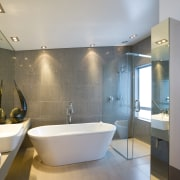 A view of the master ensuite, tiled floors architecture, bathroom, interior design, product design, room, gray