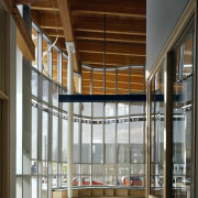 View of the Ballard Library and Neighborhood Service architecture, daylighting, interior design, lobby, gray