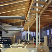 View of the Ballard Library and Neighborhood Service architecture, beam, ceiling, daylighting, institution, interior design, wood, brown