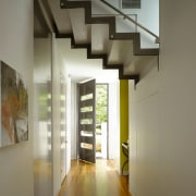 An interior view of the entrance way to architecture, ceiling, daylighting, home, house, interior design, real estate, stairs, gray, brown