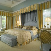 View of Master Baedroom, yellow drapes, blue bedhead, bed, bed frame, bed sheet, bedding, bedroom, ceiling, curtain, estate, furniture, home, interior design, real estate, room, suite, wall, window, window covering, window treatment, brown