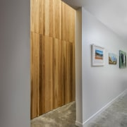 A light well with ash timber-clad feature wall