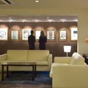 A view of the revamped hotel lounge bar ceiling, furniture, interior design, living room, lobby, room, waiting room, brown