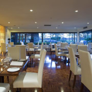 A view of the revamped hotel lounge bar dining room, interior design, real estate, restaurant, brown