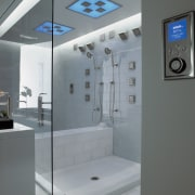 A view of these showers that feature the bathroom, glass, interior design, plumbing fixture, product design, gray