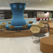 As part of the fit-out of the UBS chair, floor, flooring, furniture, interior design, lobby, product design, table, gray, brown