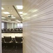 Timber slats, veneer panels and polyurethane were installed architecture, ceiling, daylighting, floor, flooring, interior design, wall, wood, gray
