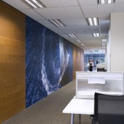 The fit-out, which was project managed by Bovis architecture, ceiling, interior design, office, wall, gray, brown