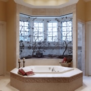 A view of this octagon shaped bathroom designed bathroom, ceiling, estate, floor, flooring, home, interior design, room, wall, window, gray, brown