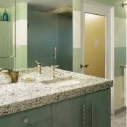 A view of some vanities from vetrazzo. - bathroom, countertop, floor, glass, home, interior design, room, sink, tile, wall