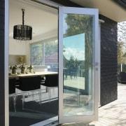 A view of some door and window joinery door, glass, interior design, window, gray, black