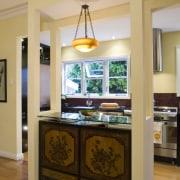 View of Kitchen designed by Celia Visser Design, ceiling, furniture, interior design, kitchen, room, table, orange, brown