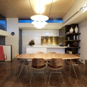 View of kitchen designed by Nicholas Murray featuring ceiling, furniture, interior design, room, table, brown