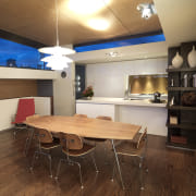 View of kitchen designed by Nicholas Murray featuring ceiling, interior design, real estate, room, table, brown