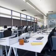 Interior view of offices featuring frosted glass doors, furniture, interior design, office, white, black