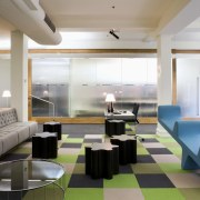 Interior view of offices featuring frosted glass doors, apartment, architecture, ceiling, interior design, living room, lobby, real estate, restaurant, table, gray