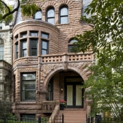 exterior view of historical house built 1893 in apartment, architecture, building, condominium, estate, facade, historic house, home, house, landmark, mansion, neighbourhood, outdoor structure, property, real estate, residential area, tree, window, brown