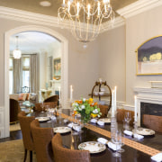 vie of dining room featuring chandelier, dining furniture, ceiling, dining room, estate, home, interior design, living room, real estate, room, table, gray