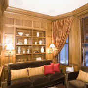 view of a small den featuring wood paneling ceiling, home, interior design, living room, room, suite, window, wood, brown, orange, white