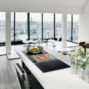 View of kitchen appliances by De Dietrich. - furniture, interior design, product design, table, white, gray