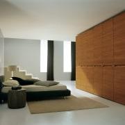 View of wardrobe system by Prestige Designs. - bed frame, bedroom, floor, furniture, interior design, product design, room, wardrobe, wood, gray, brown
