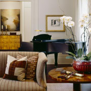 View of living areas designed by Soucie Horner. couch, furniture, home, interior design, living room, room, table, gray