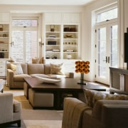 View of living areas designed by Soucie Horner. furniture, home, interior design, living room, room, table, window, gray, brown