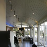 Resene paints also feature on the interior, and architecture, ceiling, daylighting, interior design, lobby, gray, black