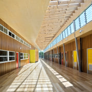 View of Williamstown High School in Melbourne. Designed architecture, daylighting, facade, floor, leisure centre, structure, wood, orange, gray