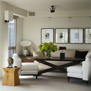 View of rooms designed by Handman Associates. coffee table, couch, floor, furniture, home, interior design, living room, room, table, window, gray