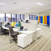 View of the Kiwi Income Property Managment offices floor, flooring, furniture, interior design, office, white