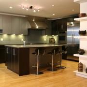 Silver cabinetry contemporary kitchen - Silver cabinetry contemporary cabinetry, countertop, cuisine classique, floor, flooring, hardwood, interior design, kitchen, room, wood flooring, brown, orange