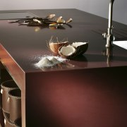 Other silestone surfaces include, Koan and Gedastu from furniture, product design, table, tap, gray