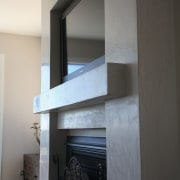 Side view of marblestone pre-cloured wall with t.v daylighting, room, shelf, shelving, wall, gray, black