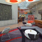 View of the Kiwi Income Property Managment offices architecture, ceiling, chair, floor, furniture, interior design, product design, table, wall, gray, black