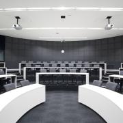 interior view of the Owen G Glenn Building auditorium, conference hall, interior design, product design, gray, black, white