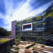 A Japanese-style courtyard offers an alternative place to architecture, building, cloud, condominium, corporate headquarters, daytime, facade, home, house, metropolitan area, mixed use, real estate, residential area, roof, sky
