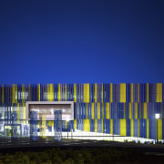 The coloured fins on the new library building architecture, blue, building, commercial building, corporate headquarters, daytime, facade, headquarters, house, landmark, metropolis, metropolitan area, mixed use, night, reflection, residential area, sky, structure, blue
