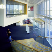 A large, cantilevered box above the reception area architecture, daylighting, floor, interior design