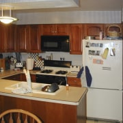 view of kitchen before renovations by Insignia Kitchen cabinetry, countertop, furniture, kitchen, real estate, room, gray, red