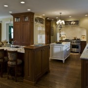 View of kitchen by Drury Kitchen design & cabinetry, countertop, cuisine classique, flooring, hardwood, interior design, kitchen, room, brown, gray