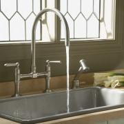 Kohler HiRise Kitchen faucets incorporate the design asethetics countertop, kitchen, plumbing fixture, product design, sink, tap, brown, white